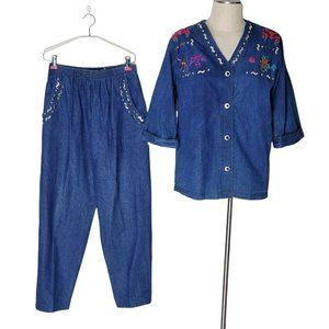Vintage Gepello Pant Suit Women Size S Southwestern Embroidered Denim Metal